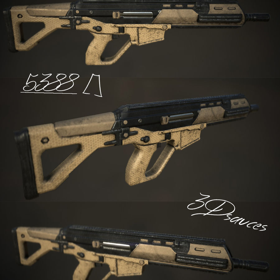 Future Assault Rifle royalty-free 3d model - Preview no. 1
