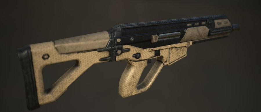 Future Assault Rifle royalty-free 3d model - Preview no. 4