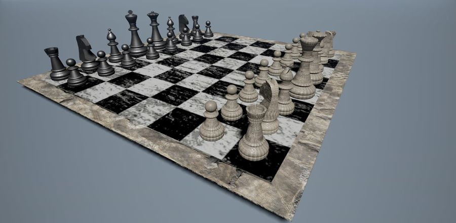 Rock Chess Set royalty-free 3d model - Preview no. 1
