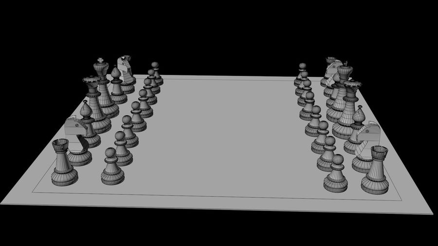 Rock Chess Set royalty-free 3d model - Preview no. 5