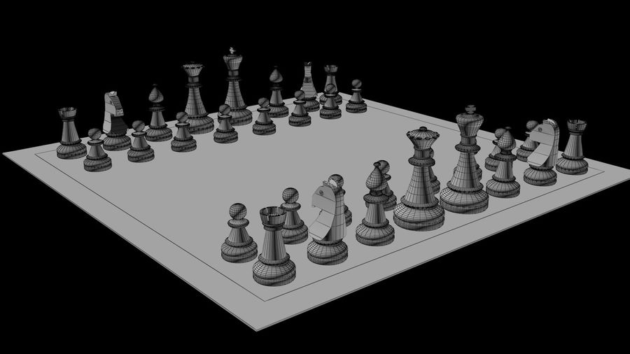 Rock Chess Set royalty-free 3d model - Preview no. 6