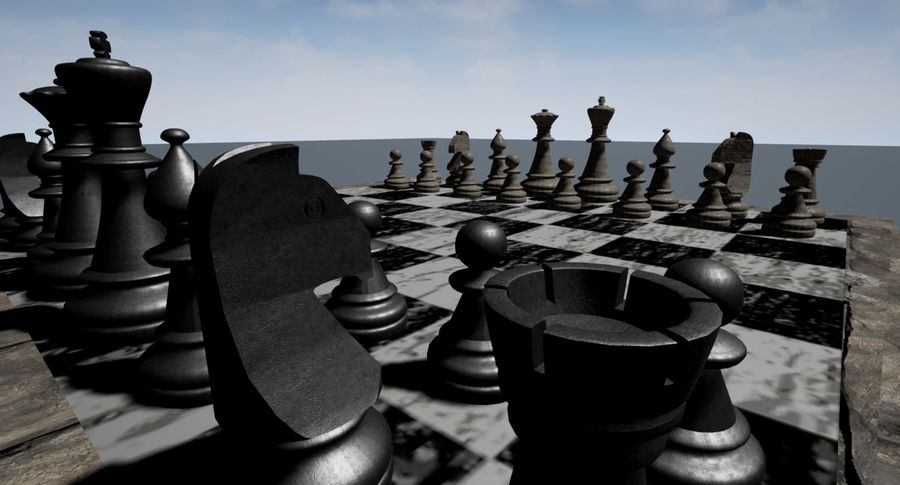 Rock Chess Set royalty-free 3d model - Preview no. 4