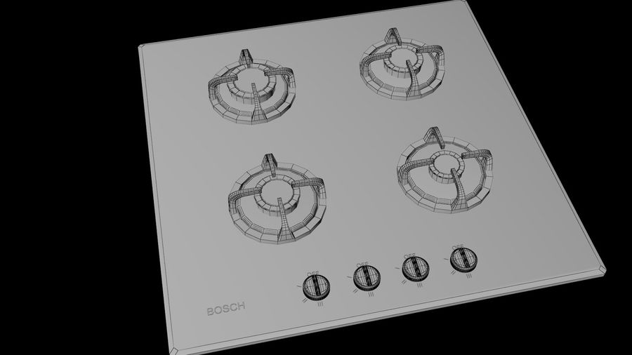 Gas Cooktop royalty-free 3d model - Preview no. 5