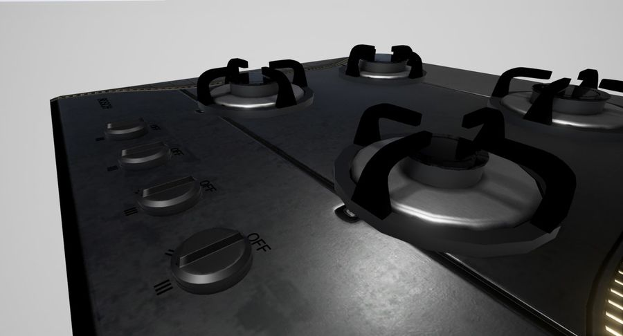 Gas Cooktop royalty-free 3d model - Preview no. 3