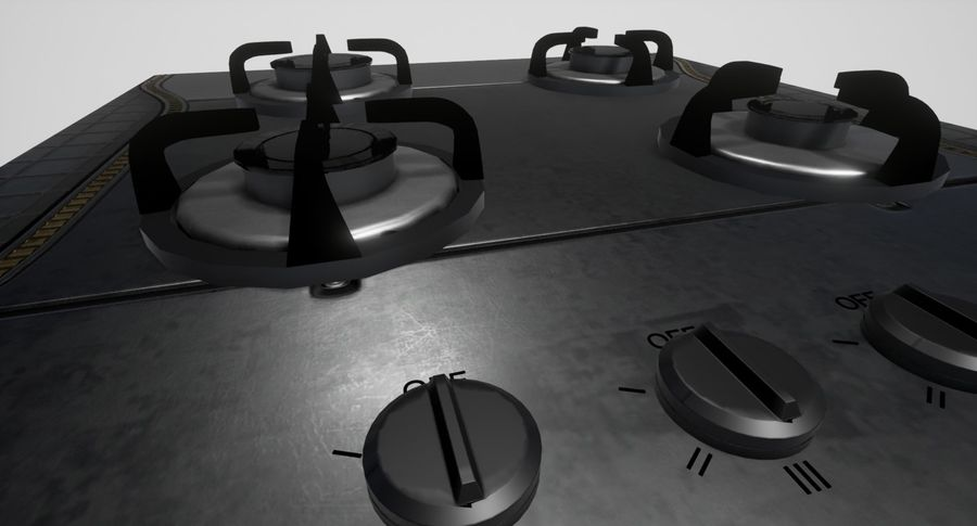 Gas Cooktop royalty-free 3d model - Preview no. 4
