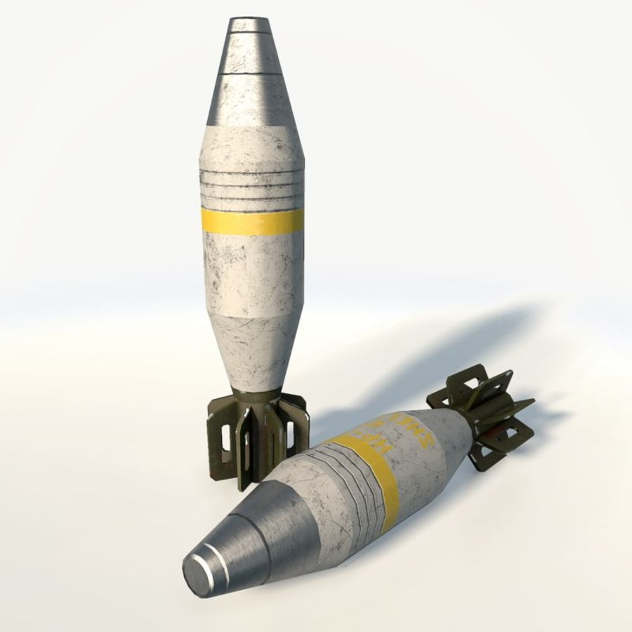 Mortar shell low poly royalty-free 3d model - Preview no. 2