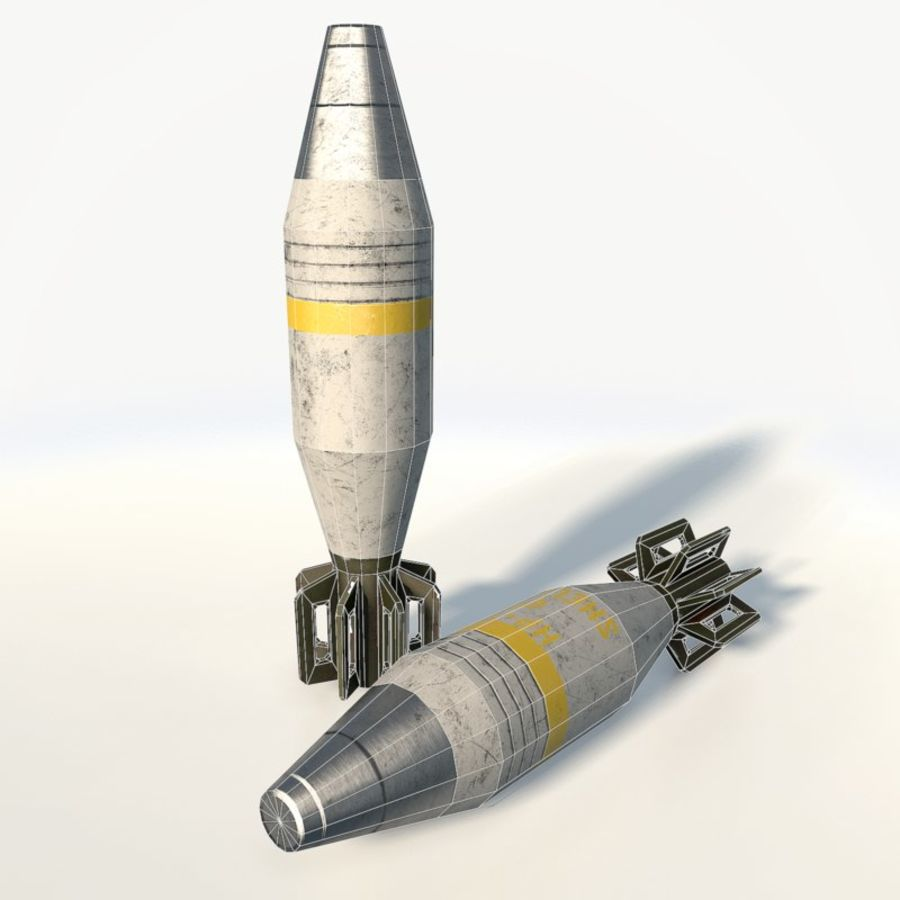 Mortar shell low poly royalty-free 3d model - Preview no. 6