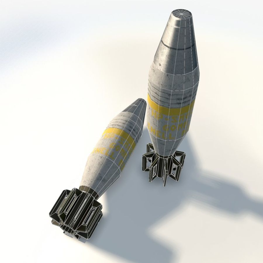 Mortar shell low poly royalty-free 3d model - Preview no. 8
