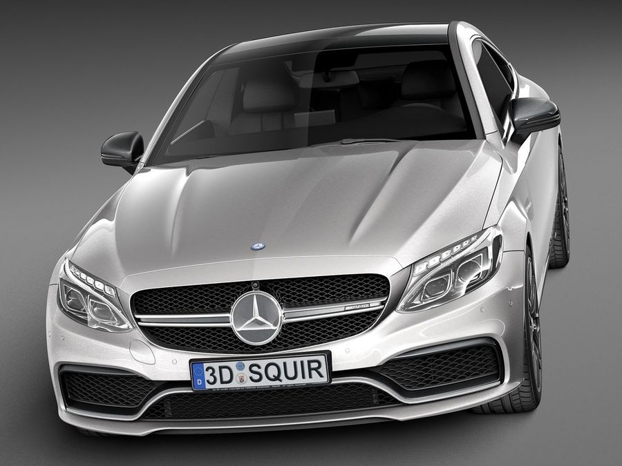Mercedes-Benz C63 AMG Coupe 2017 royalty-free 3d model - Preview no. 2