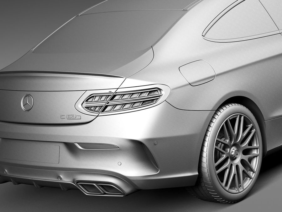 Mercedes-Benz C63 AMG Coupe 2017 royalty-free 3d model - Preview no. 11