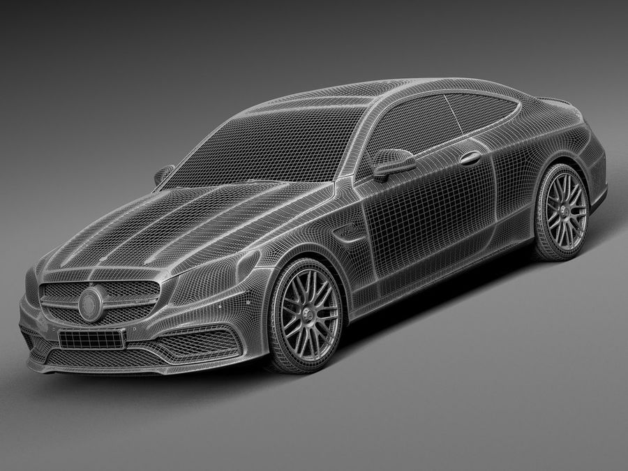 Mercedes-Benz C63 AMG Coupe 2017 royalty-free 3d model - Preview no. 13