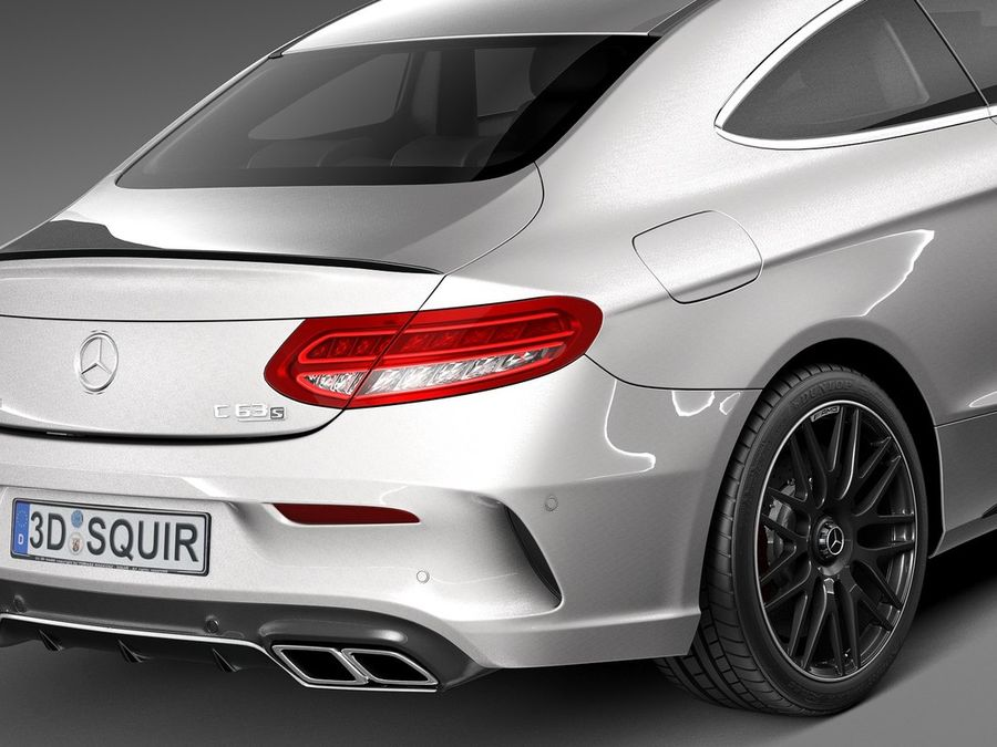 Mercedes-Benz C63 AMG Coupe 2017 royalty-free 3d model - Preview no. 4