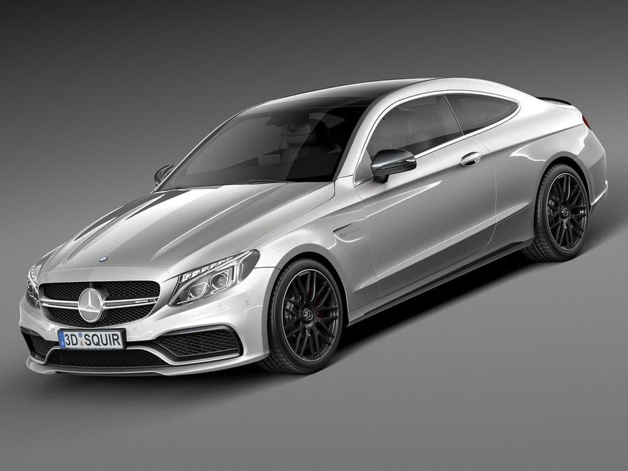 Mercedes-Benz C63 AMG Coupe 2017 royalty-free 3d model - Preview no. 1