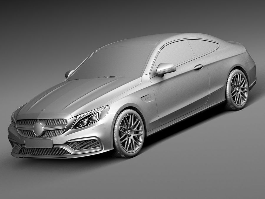 Mercedes-Benz C63 AMG Coupe 2017 royalty-free 3d model - Preview no. 9