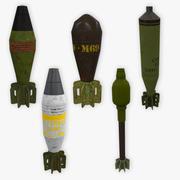 5 mortar shells low poly 3d model