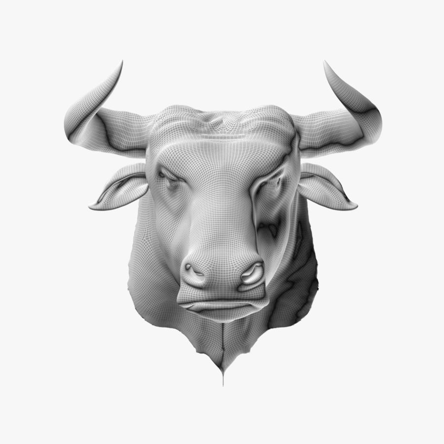 Bull head royalty-free 3d model - Preview no. 8