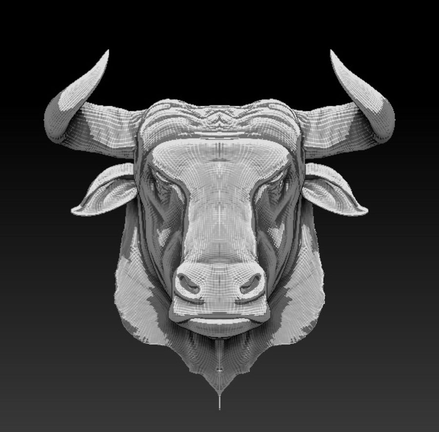 Bull head royalty-free 3d model - Preview no. 3
