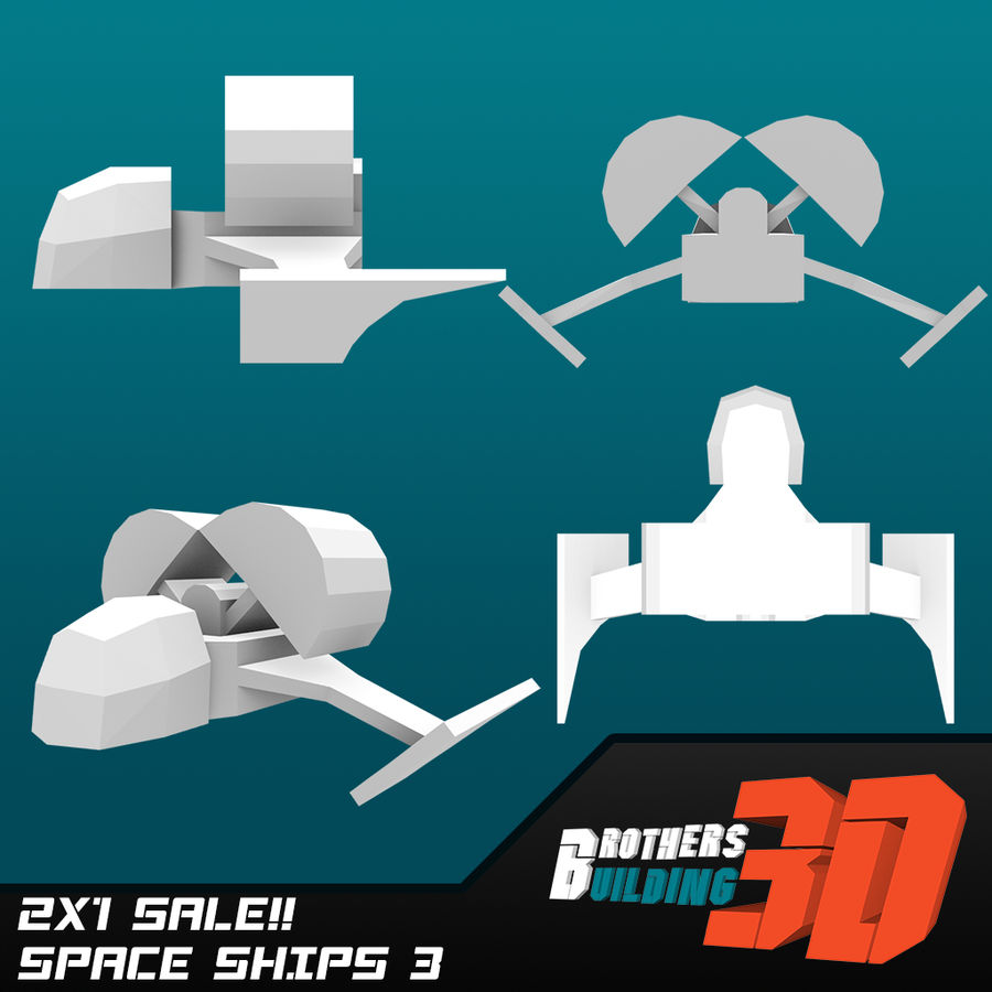 SpaceShips 4 royalty-free 3d model - Preview no. 2