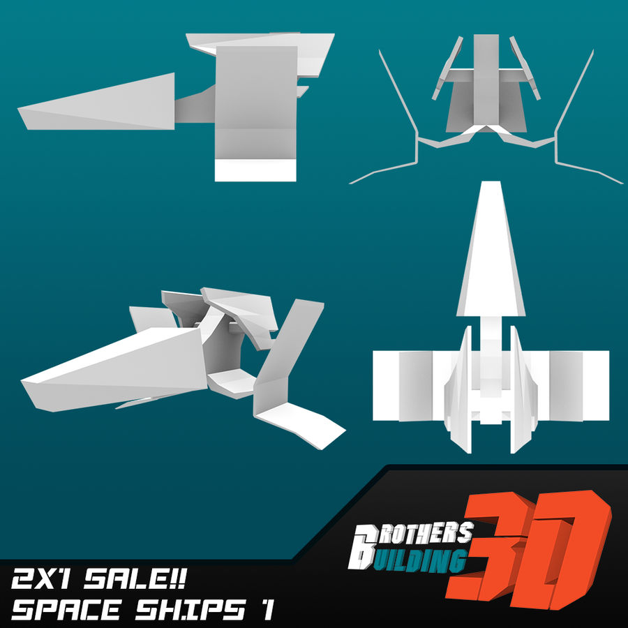 SpaceShips 1 royalty-free 3d model - Preview no. 1