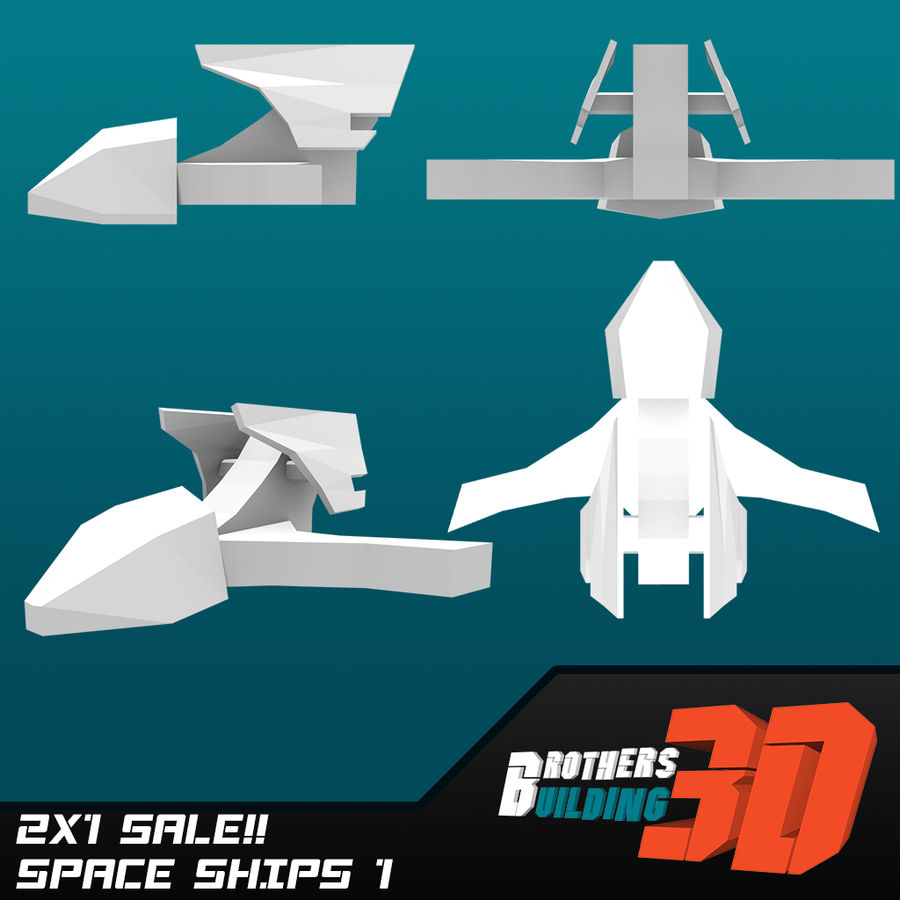 SpaceShips 1 royalty-free 3d model - Preview no. 2