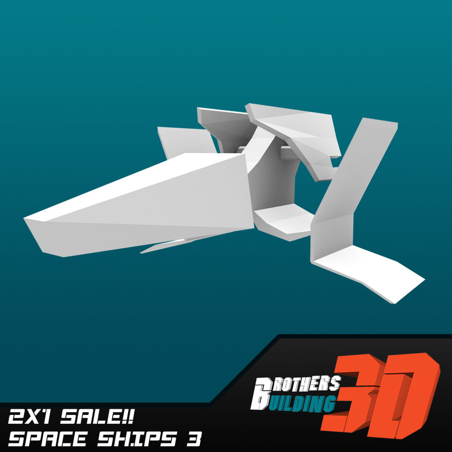 SpaceShips 1 royalty-free 3d model - Preview no. 3