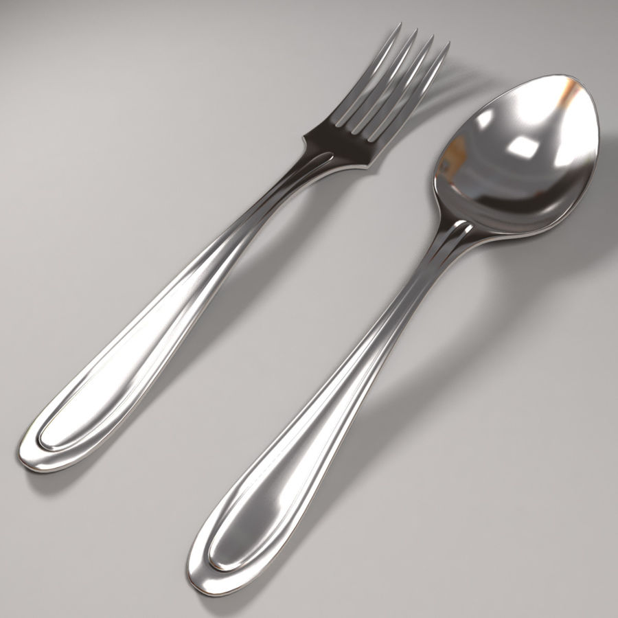 Fork & Spoon royalty-free 3d model - Preview no. 1