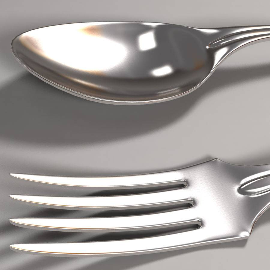Fork & Spoon royalty-free 3d model - Preview no. 4