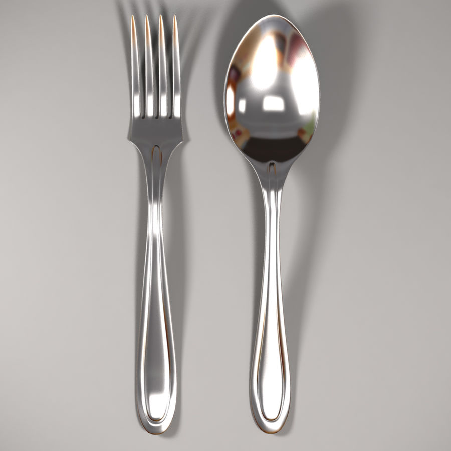 Fork & Spoon royalty-free 3d model - Preview no. 2