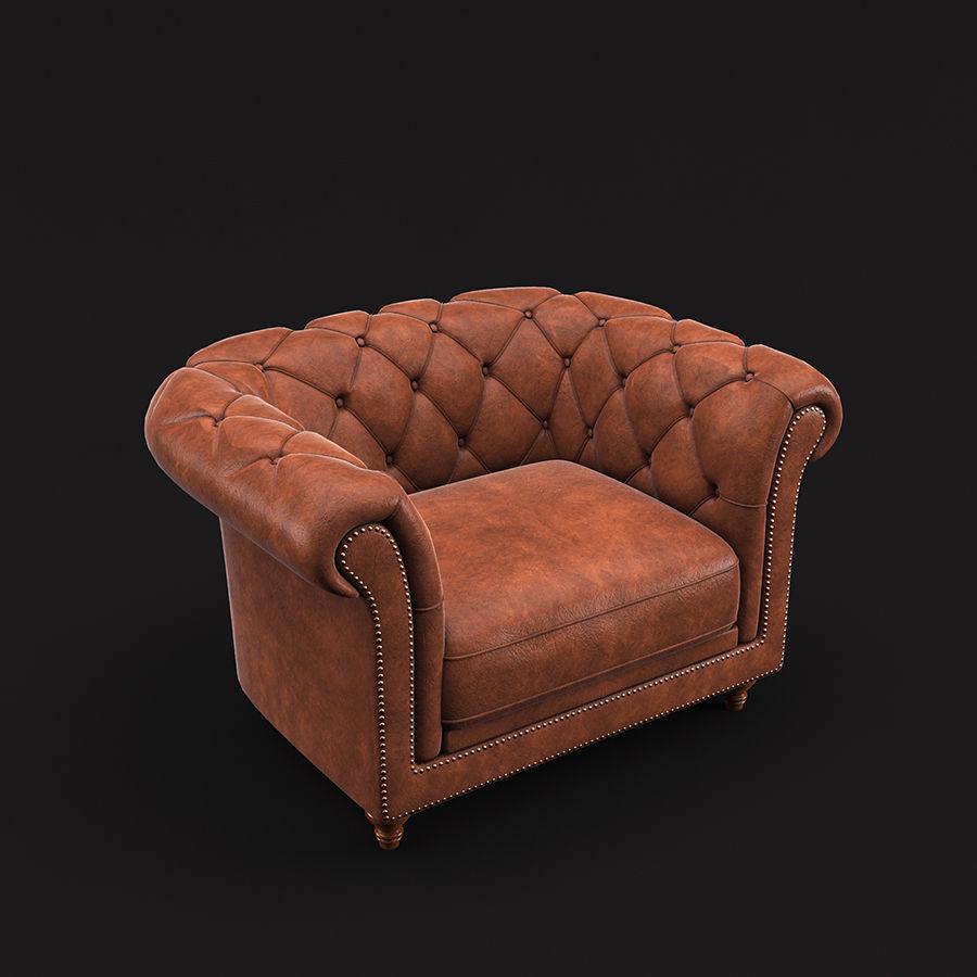 切斯特菲尔德扶手椅 royalty-free 3d model - Preview no. 5