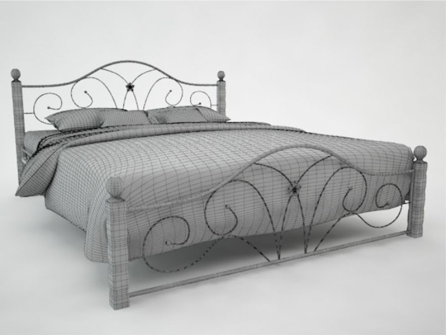 wrought iron bed 1 royalty-free 3d model - Preview no. 4