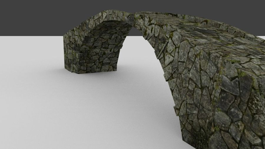 Old stone bridge royalty-free 3d model - Preview no. 2