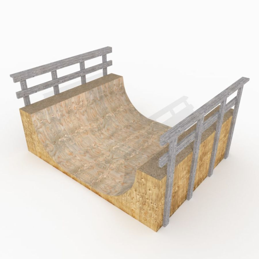 Halfpipe de madeira simples royalty-free 3d model - Preview no. 1