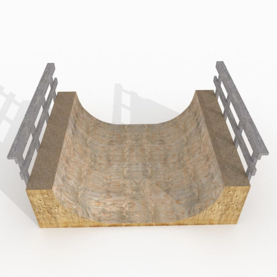 Halfpipe de madeira simples royalty-free 3d model - Preview no. 3