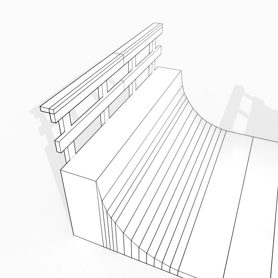 Halfpipe de madeira simples royalty-free 3d model - Preview no. 4