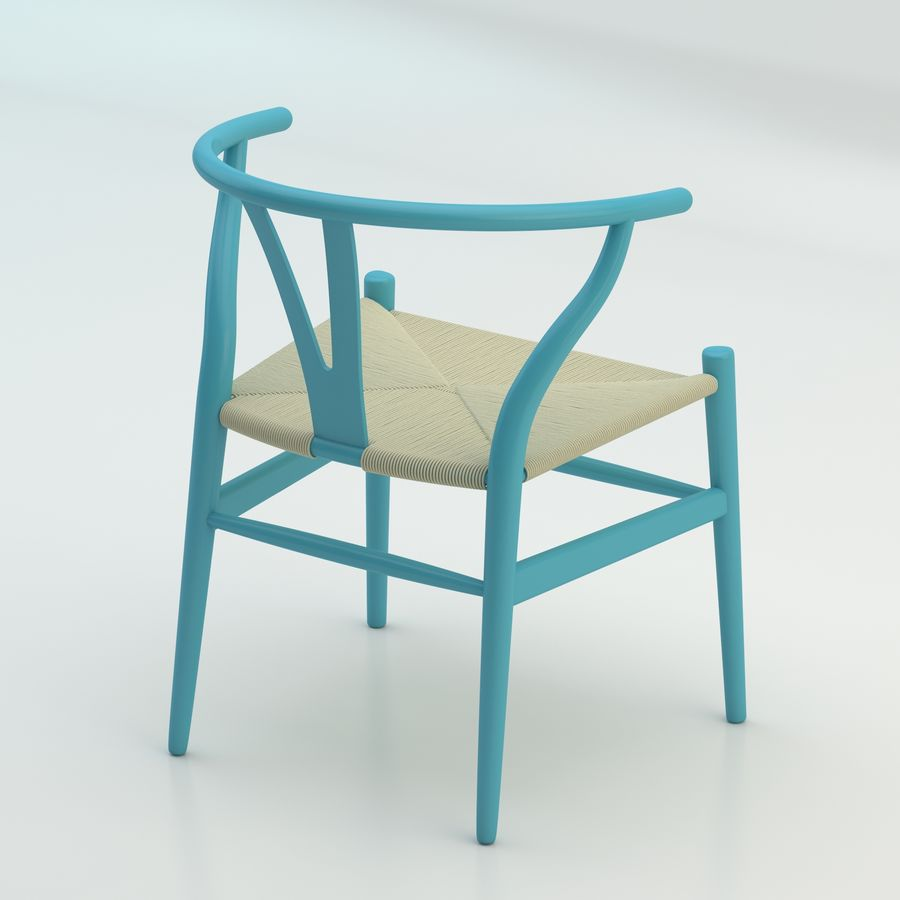 La silla escandinava Wishbone CH24 High Poly modelo de alta calidad en madera azul royalty-free modelo 3d - Preview no. 2