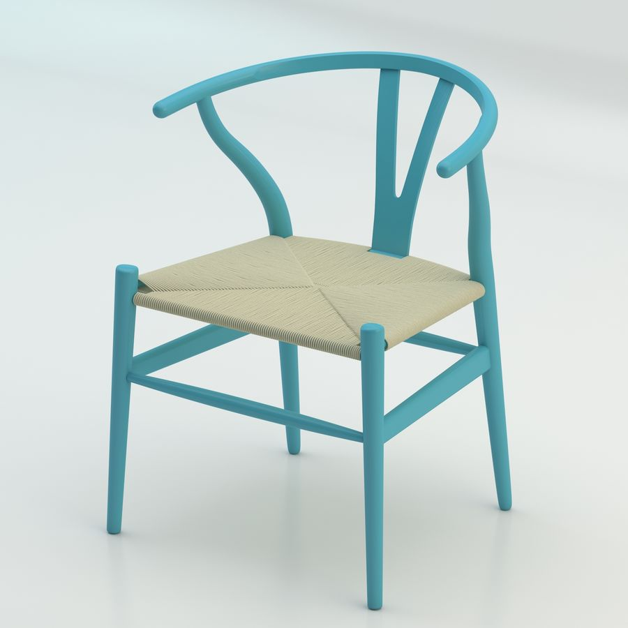 La silla escandinava Wishbone CH24 High Poly modelo de alta calidad en madera azul royalty-free modelo 3d - Preview no. 1