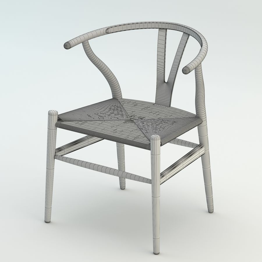 La silla escandinava Wishbone CH24 High Poly modelo de alta calidad en madera azul royalty-free modelo 3d - Preview no. 8