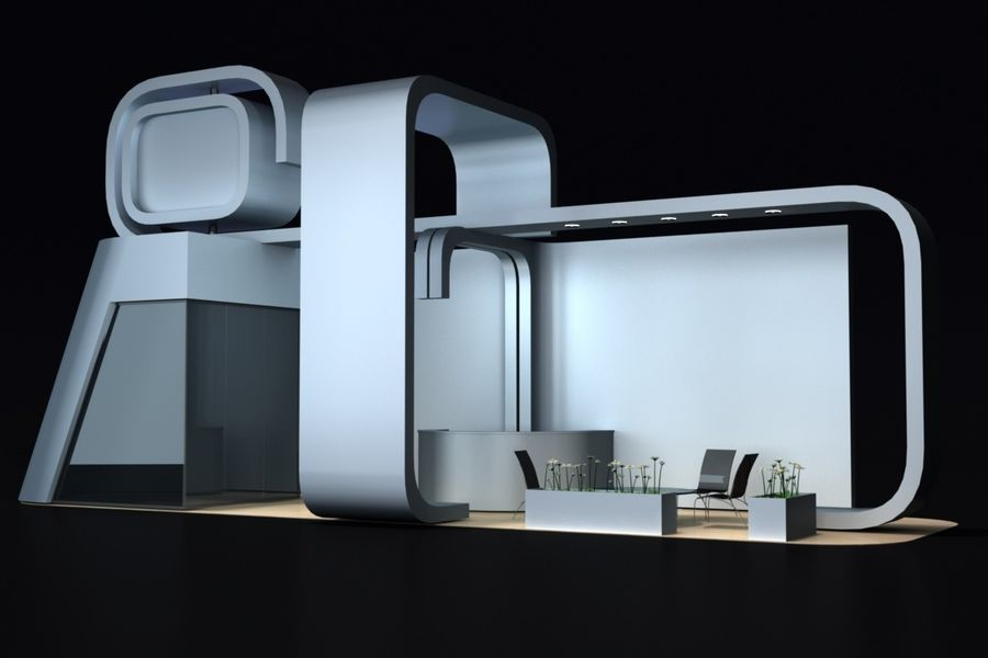 exhibition stand 1 royalty-free 3d model - Preview no. 1
