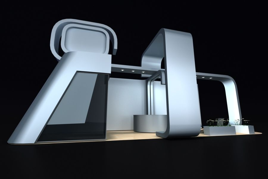 exhibition stand 1 royalty-free 3d model - Preview no. 3
