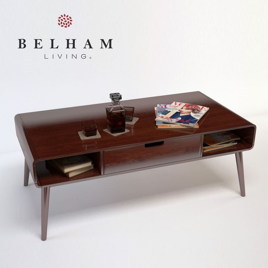 Belham living carter mid century modern coffee table royalty free 3d model preview no