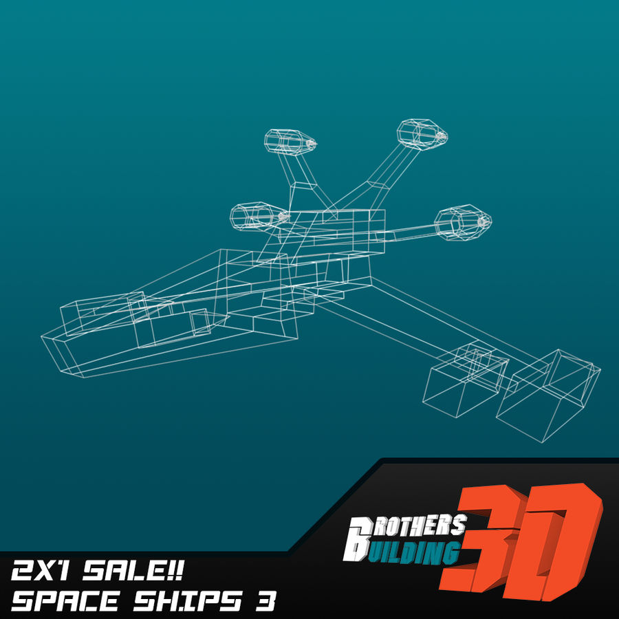 SpaceShips 2 royalty-free 3d model - Preview no. 6