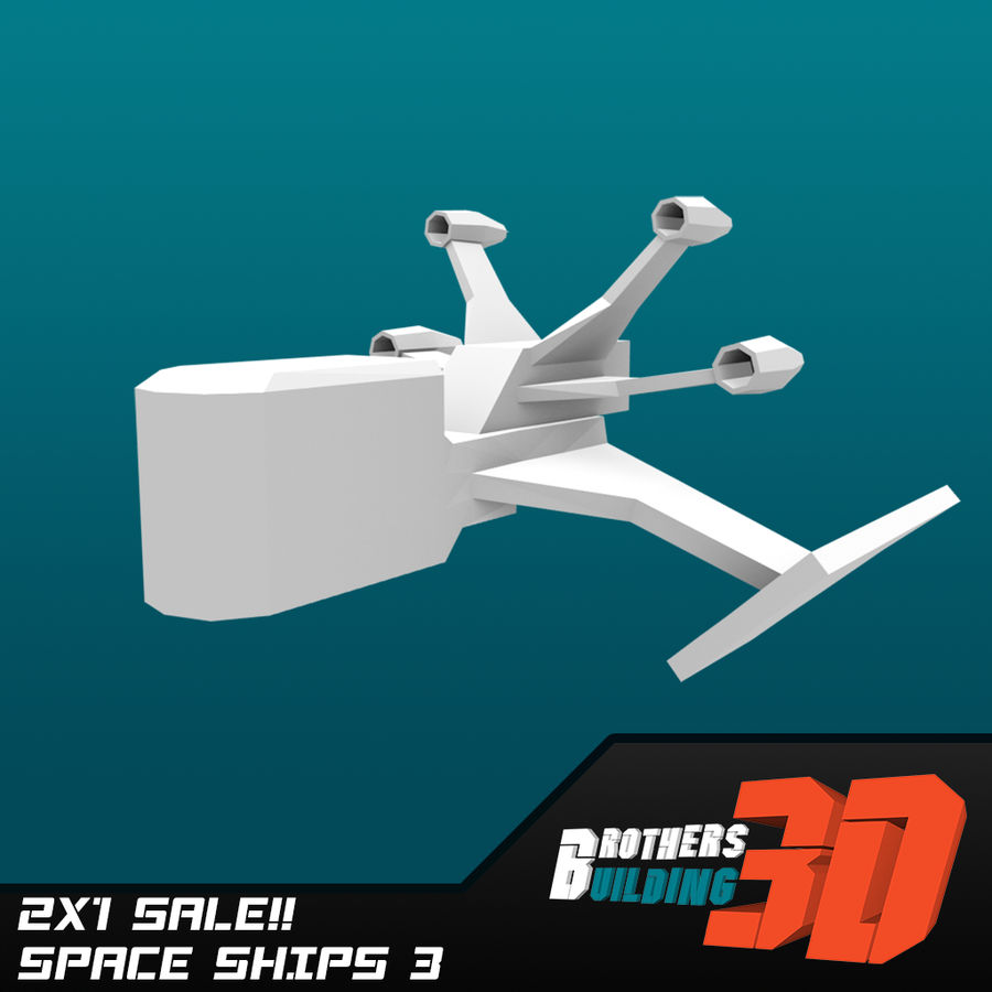 SpaceShips 2 royalty-free 3d model - Preview no. 3