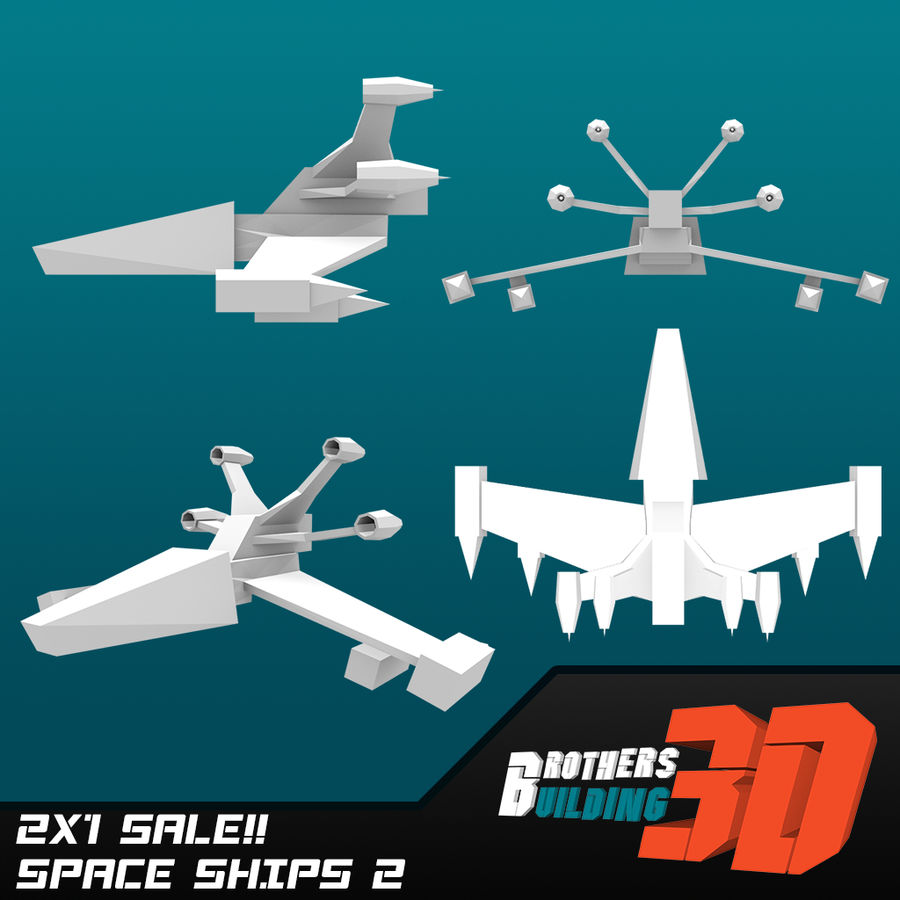 SpaceShips 2 royalty-free 3d model - Preview no. 2