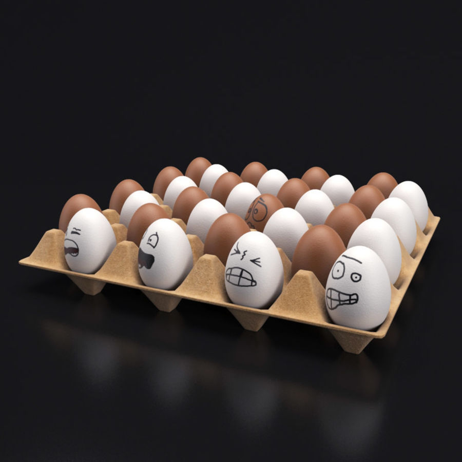 Emotional egg tray royalty-free 3d model - Preview no. 2