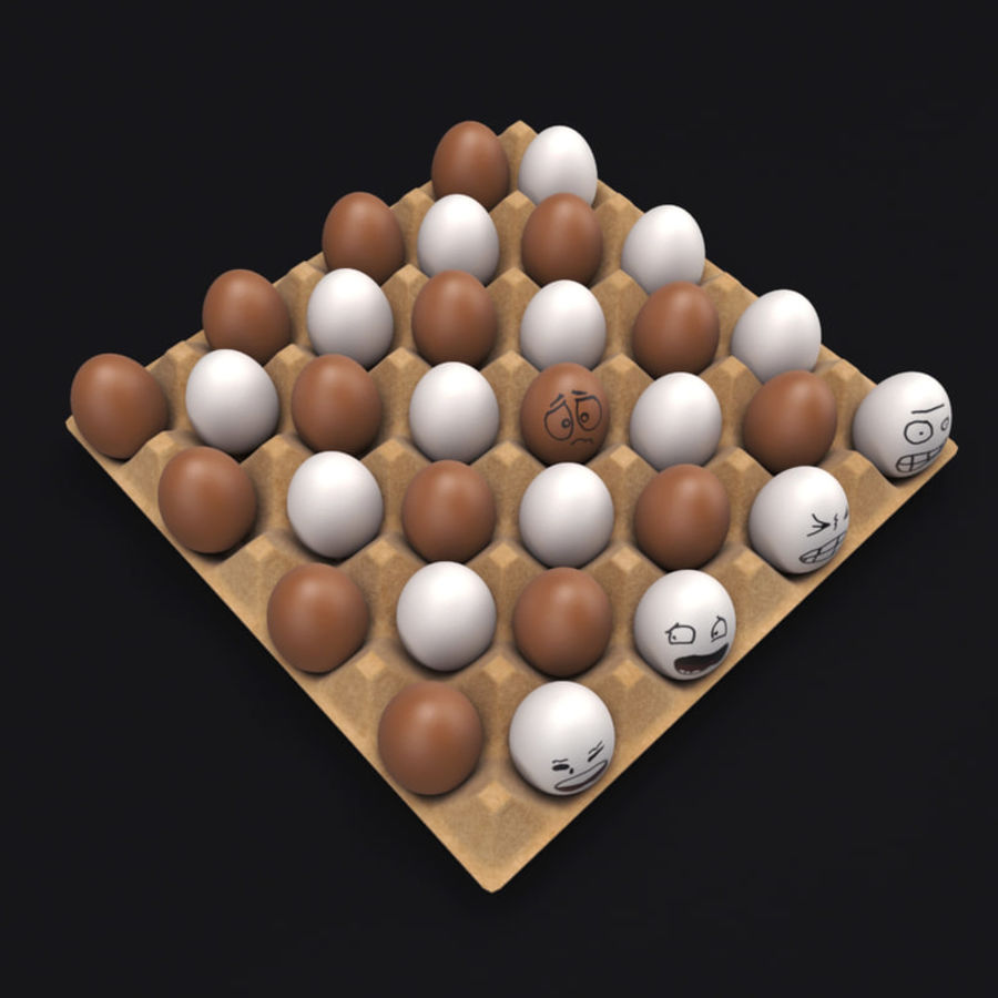 Emotional egg tray royalty-free 3d model - Preview no. 5