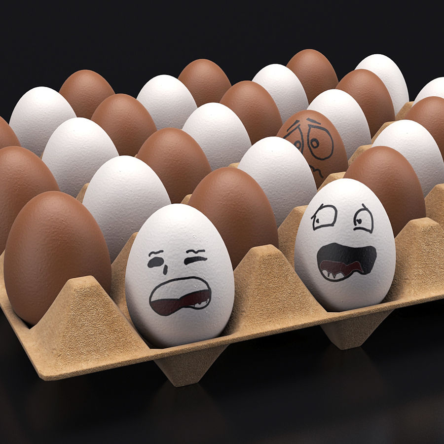 Emotional egg tray royalty-free 3d model - Preview no. 3