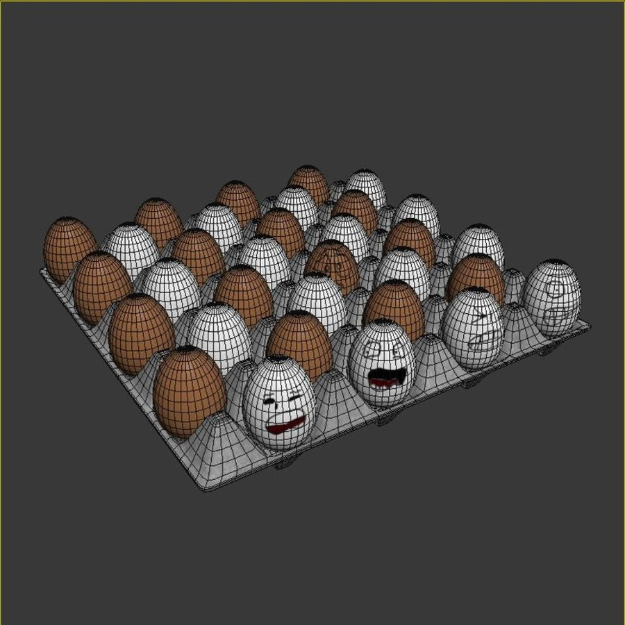 Emotional egg tray royalty-free 3d model - Preview no. 6