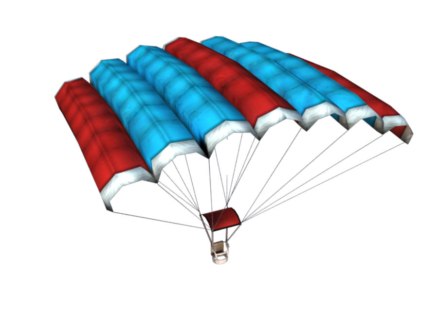 Parachute Game Ready royalty-free 3d model - Preview no. 3
