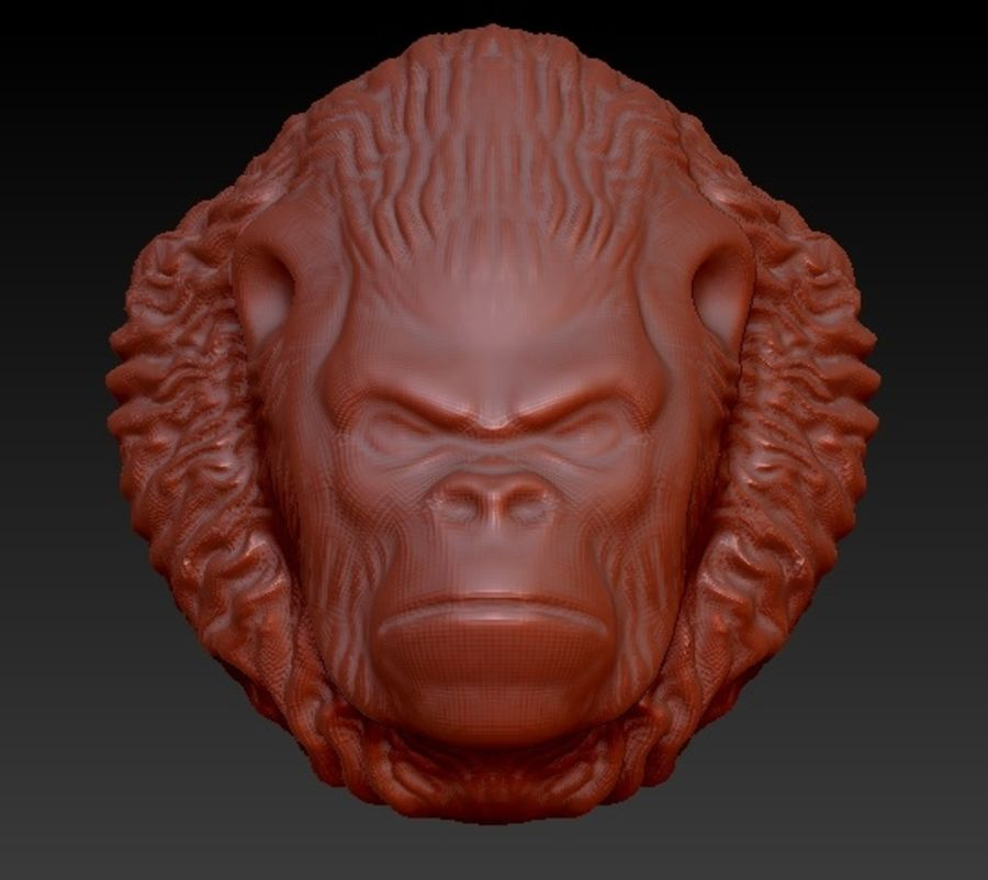 Gorilla head royalty-free 3d model - Preview no. 1