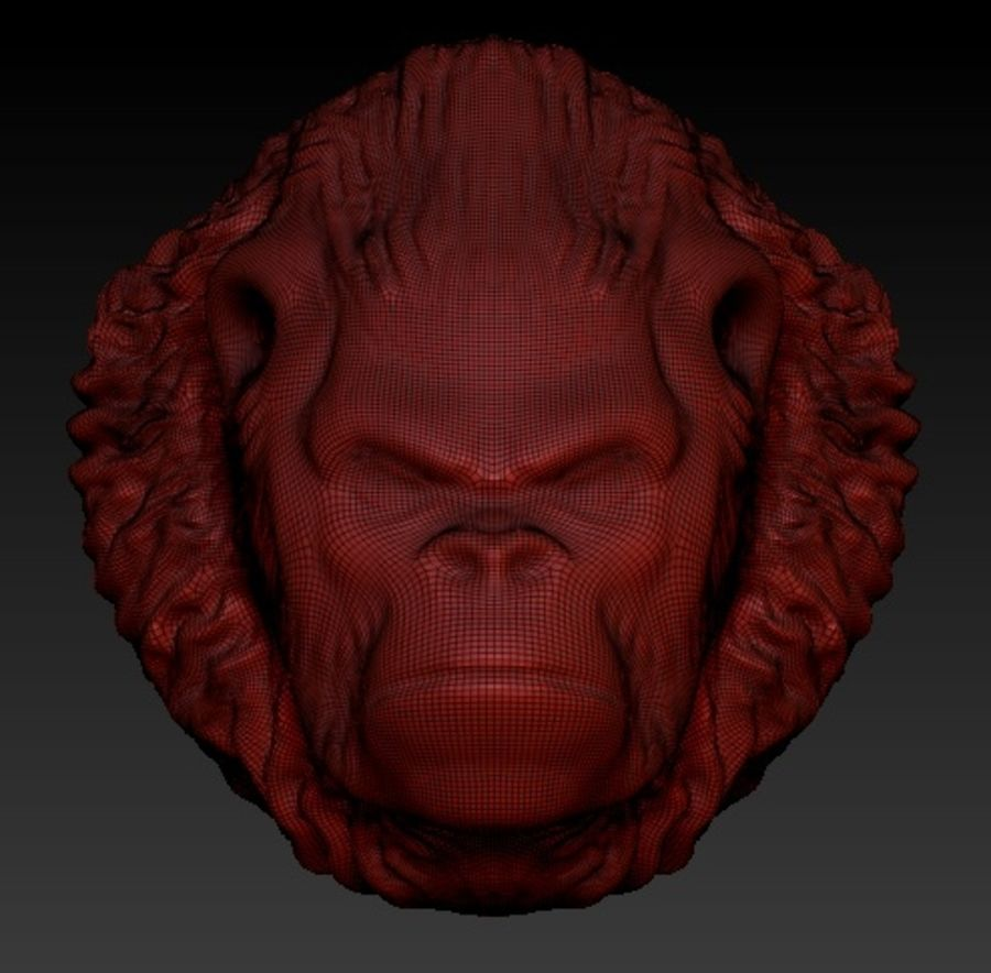 Gorilla head royalty-free 3d model - Preview no. 2
